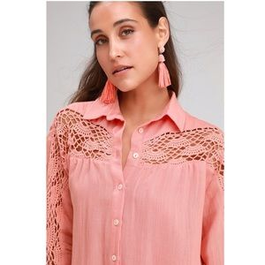 Lulu's Tops - LULU'S Callie Slade Peach Crochet Button Up Top